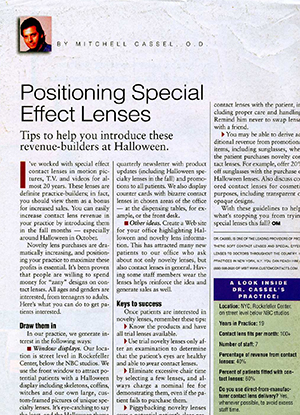 Optometric Management: Positioning Special Effects Lenses